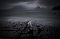 Elgol Storm (Andrew Paul Watson) Tags: elgol skye isleofskye scottish scotland beach rocks rock sunset storm wind longexposure long exposure mountain cuillin cuillins black blackandwhite andrew watson andrewpaulwatson colour mute