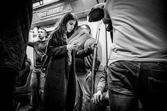 A reader lives a thousand lives... (Mustafa Selcuk) Tags: reader metro istanbul turkey street streetshooter streetphotographer streetphotography monochromatic monochrome blackandwhite bmw bw siyahbeyaz yasam kadin