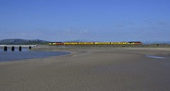1Q18 37116 TnT 37219 (elr37418) Tags: blue yellow orange arnside england colas test train cumbria nikon d7000 uk railway water bridge coast 37116 37219