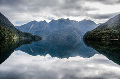 Bligh Sound - New Zealand (Cisc Pics) Tags: blighsound fiordland newzealand southisland aotearoa reflection water clouds morning mountains nature wilderness nikon nikkor d7000 dx 18200mm islandescape islandpassage cruise