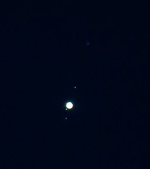 Jupiter and its four moons