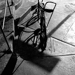 Late afternoon decorum (Dom Guillochon) Tags: noiretblanc rural city sidewalk bike stand steps bar humans people time life reality dream existence being nothingness earth roam wandering sunlight late afternoon decorum urban multiverse