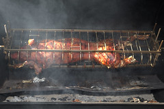 Roasting pig (lenswrangler) Tags: lenswrangler digikam bistroliaison bistro liaison party farewell berkeley restaurant french bbq barbeque roast smoke pig
