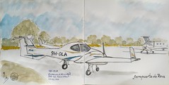 9H-OLA (Fotero) Tags: usk urbansketchers urbansketch urbansketching dibujo acuarela watercolor avion aeropuerto diamond d42 aviacion reus cuaderno cuaderno12