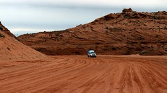 Dirt Road to Antelope Canyon (Prayitno / Thank you for (12 millions +) view) Tags: konomark jeep truck vehicle unpaved dirt red rock earth road natural sediment upper antelope canyon page az arizona outdoor activity trip journey adventure day time cloudy sky