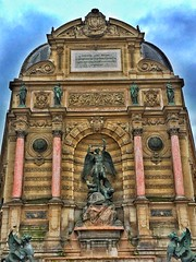 Paris France ~  Fontaine Saint-Michel ~ Place Saint-Michel (Onasill ~ Bill Badzo) Tags: paris france fontaine saintmichel place saint michael historic historical water fountain public art onasill tourist travel vacation holiday mustsee monumental monument 1860 french second empire architecture style sculptures dragon alfred jacquemart sky blue clouds tour iphone phonegraphy mobile photp flickr photobucket
