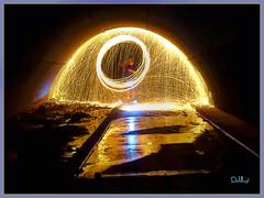 Melting Igloo of Fire (lloydboy52) Tags: meltingigloooffire melting igloo fire firepainting woolburning woolspinning reflections sparks sparktrails tunnel steelarchtunnel urbex urbanexploration lightpainter lightpainting