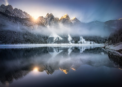Alpenglow at Gosausee (explored) (hpd-fotografy) Tags: alpen alpenglühen alps austria gosausee alpenglow blue cold dramatic hiking lake landscape light mountain nature outdoor reflection snow sunset water winter österreich