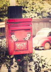 Teashop Red Post Box (Peter Greenway) Tags: cottage janesteashop red flickr redpostbox postbox teashop petergreenway tea
