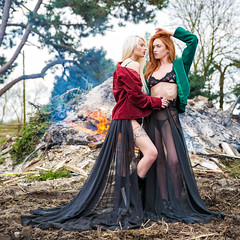 Ablaze (Fairy_Nuff (piczology.com)) Tags: model beauty smoke fire ablaze skirt bra redhead blonde jenny osullivan romanie smith