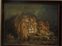 Lion and lioness by American painter Julius Segall 30000-50000 USD student mate with Geza Vastagh Hungary (samcservari1) Tags: hungarian painter art artist contemporary painting cservari sam collection julius segall vastagh geza munchen academy milwaukee wisconsin jew jewish immigrant polish german munich