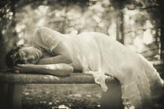 Sleeping beauty (maxlaurenzi) Tags: victorian vintage sepia tone bokeh blur painting relax party 1800 people 50mm spring italy park woods nature sweet beautiful sleep woman softness