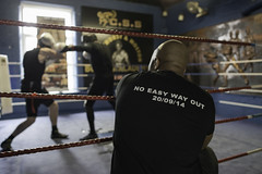No Easy Way Out (Michael Kirkham - Photographer) Tags: boxing boxers train training spar sparring ring fight trainer fighters photography blue manchester uk left jab hook ropes light