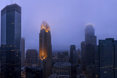 Foggy Minneapolis Panorama (Explored!) (Sam Wagner Photography) Tags: minneapolis wells fargo ids capella foshay vista view panoramic foggy winter cold dusk twilight buildings downtown blue hour lights cityscape skyscrapers ultra wide fov pano mist twin cities minnesota urban metropolis