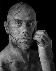 Broken Wrist (Gary Sanders Photography) Tags: portraiture monochrome blackandwhite flaking wrist fracture man middleaged bandages splint textures crackedpaint
