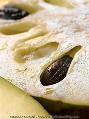 Cherimoya (Bitter-Sweet-) Tags: vegan food fruit vegetables whole wholesome fresh produce macro closeup details texture cherimoya tropical seeds sliced insides interior creamy raw juicy