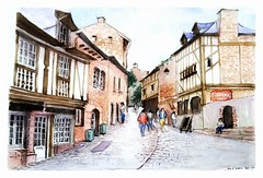 Dinan - Bretagne - France (guymoll) Tags: dinan bretagne france aquarelle watercolour watercolor colombages timbered sketch croquis
