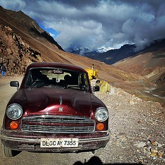 upload (ziddharth) Tags: instagramapp square squareformat iphoneography uploaded:by=instagram lofi roadtrip himalayas rohtangpass ambassador ladakh