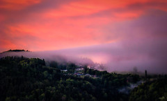 The mysterious mountain village (VandenBerge Photography) Tags: goldiwil berneseoberland canon cantonberne sky skyscape nature village clouds colours fog forest mountain green houses trees travel mysterious weather sunset switzerland europe landscape