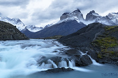 Torres del Paine waterfall (debbie_dicarlo) Tags: chile chileanpatagonia patagonia mountains waterfall morning bluehour nature landscape cloudy clouds