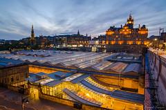 Balmoral Hotel and Waverly station, Edinburgh Scotland (patrickfranzis) Tags: scotland edinburghscotland edinburgh night waverlystation trainstation lowlight balmoroal trains waverly