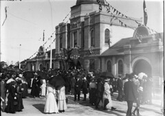 Outside the entrance, opening of the Taronga Zoological Park (State Library of New South Wales collection) Tags: statelibraryofnewsouthwales sydney harbour views zoos taronga architecture buildings