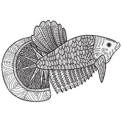 Coloring page with zentangle fish (d.em_ver) Tags: isolated page aquatic decoration coloring tribal tropical white ornament tail life line adult vector swim graphic aquarium drawing underwater black cute ink doodle illustration ornamental decorative sketch marine kid art draw fauna sea style ornate water wild fish nature exotic pattern fishing hand book cartoon animal ocean wildlife boho zentangle