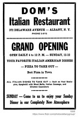 1958 dom's italian restaurant (albany group archive) Tags: albany ny history 1958 doms italian restaurant delaware avenue grand opening 1950s photograph vintage old photos photographs historical historic photo