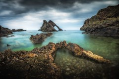 The Scorpion's Tail (Augmented Reality Images (Getty Contributor)) Tags: bowfiddlerock canon cliffs clouds colours fog landscape leefilters longexposure morayfirth portknockie rocks scotland water waves