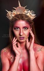 Glam Mermaid II (Lydia Tausi Photography) Tags: model girl woman mermaid glitter glam pink makeup portrait photography photoshoot canon eos500d 50mm lydiatausi raquelsanchez nyx crown shell beauty