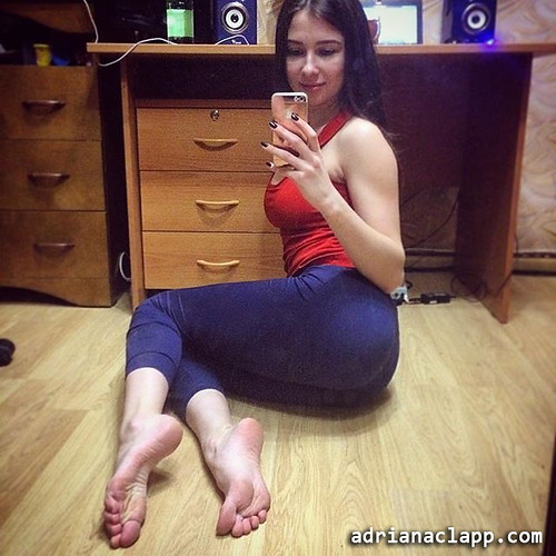 Amusing sexy girl feet selfie have thought