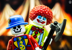 Evil Clowns (jezbags) Tags: lego legos toys toy minifigure minifigures macro macrophotography macrodreams macrolego closeup upclose canon60d canon 60d 100mm clown clowns evil axe circus