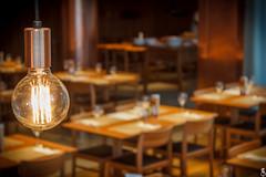 Edison (Daniel Ares) Tags: lamp edison lighting restaurant place dinner cozy warm yellow orange menu gourmet macro close food