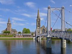 Greig Street Footbridge (jrw080578) Tags: bridge trees river church buildings scotland inverness riverness highlands