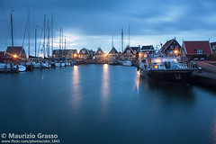 Marken at dusk, Holland. (UKN_1861) Tags: marken holland netherlands amsterdam dusk dawn twilight night dutch lights illuminated sky blue evening harbour sea water landmark famous village town fishingvillage boat houses clouds seaside beautiful picturesque majestic destinations attraction vacation travel tourism touristic europe