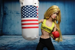 Strong is Beautiful (MARVEL_DOLLS) Tags: fashionroyalty fr fr2 integrity jasonwu fnobergdorf fashionnightout ooak reroot blondebombshell blondedoll 16scale gym workout strongisbeautiful beastmode msmarvel caroldanvers marvel marvelcomics marveluniverse comicbookcharacter superhero superheroine avengers captainamerica americanflag punchingbag boxing gloves backdrop background toys playscale 12inchactionfigure 12 fraue