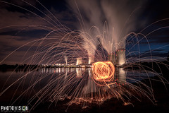 Centrale nucléaire de Cattenom (Photo.Vision) Tags: luxembourg canon70d f28 28 2025 lightpainting sky clouds water yellow blue orange smoke