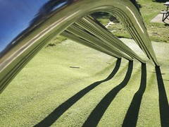 Pole slide shadow maker (imajane) Tags: 20170429084033 phone 2017 green lines poles playground memorial park memorialpark palmerstonnorth ithinkishouldwritemoreinthetags likepoetry fortheeyes light slide