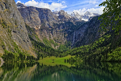 Lake Obersee, Germany (louelke - gone again) Tags: obersee berchtesgadennationalpark lake clear waterfall reflections germany mountains alps bavaria