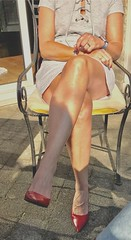 MyLeggyLady (MyLeggyLady) Tags: teasing cleavage thighs crossed secretary minidress sexy red stilettos pumps cfm legs heels