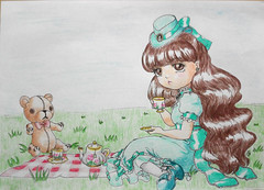 IMG_20170508_170701_ (applecandy spica) Tags: pullip dal monomono custom tea party picnic teddy bear fan art drawing brown mint green cute lovely loli victorian colors color colored pencil handdrawn puddle doll