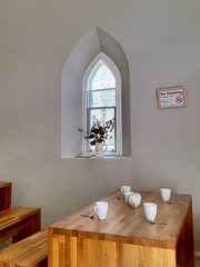 Tea room window (JulieK (enjoying Spring in Co. Wexford)) Tags: window hww tinternabbey wexford ireland irish flowers teacups table chairs sign 117picturesin2017 indoor