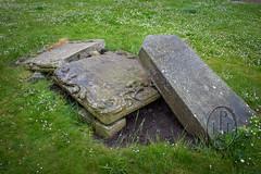 Broken Memorial and Shattered Memories North Berwick Parish Kirkyard 2 of 2 (PHH Sykes) Tags: north berwick parish kirkyard scotland broken grave skull angel mementomori shattered