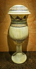 Alabaster cosmetic vase with vessel stand  found in the tomb of King Tutankhamun Egypt New Kingdom 18th Dynasty 1332-1323 BCE (mharrsch) Tags: alabaster costmetics jar vessel gravegoods funeraryart tutankhamun pharaoh king ruler egypt newkingdom 18thdynasty 14thcenturybce mharrsch newyorkcity premierexhibits discoveryofkingtut exhibit