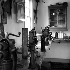 The Tin Shop (HJharland5) Tags: zoarvillage monochrome bw tin shop historic 19thcentury zoar ohio religiousseparatists ohiohistoricsociety village museum workshop tools workbench olympus em10