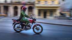 Street Bike in Havana (I saw_that) Tags: panning bike street paseo marti havana red green blur rider holiday travel cuba morning commute suzuki motorcycle helmet cool cool2 cool3 cool4 cool5 cool6 uncool cool7 cool8 cool9 iceboxcool