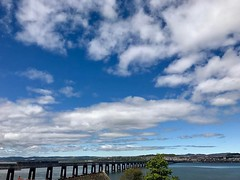 View from #wormit looking at #dundee #uk. #europe #roadtrip #bridges #clouds #iphonephotography #iphonephoto