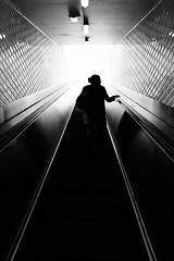 Path to the heavens (jeffclouet) Tags: paris france capital europe nikon nikkor d7100 monochrome pb nb bw metro rer subway escaleras escalier escalator street rue calle ville city cuidad urbain urbano urban downtown underground people personas black negro noir alone soledad solitude