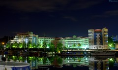 Sleeping With The Fishes (HiJinKs Media...) Tags: water night building boats sleep city bristol calm serene sky harbourside architecture life nightlife reflections nikon light trees landscape seascape polaris illuminated mirror blue green pink lifeonthewater peaceful nighttime maritime sailor