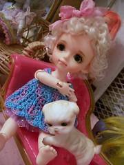 Little Cutie Pie..... (simplychictiques) Tags: lydoll latiyellowdoll bjd tiny miniatures latiyellowdolly lybyul sherbetdollyfaceup sherbetdollywig childlike cute balljointeddoll dollphotography spokanewashington newgirl meetparis wizardofoztotodog